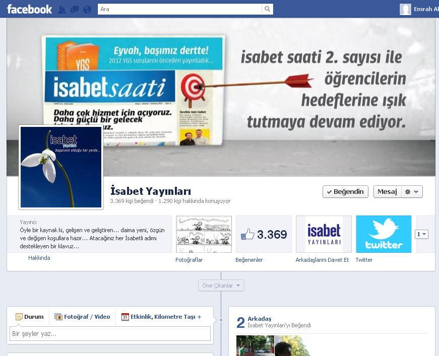 Facebook sayfam ı yeni tasarıma geçirip denemek istedim işte